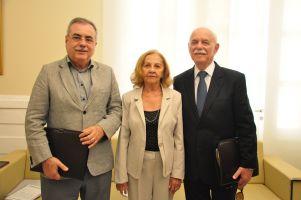 A presidente do TRT/CE recebeu a visita dos empresários Freiras Cordeiro (Presidente da Federação das CDLs Ceará) e Assis Cavalcante (Presidente da CDL Fortaleza)